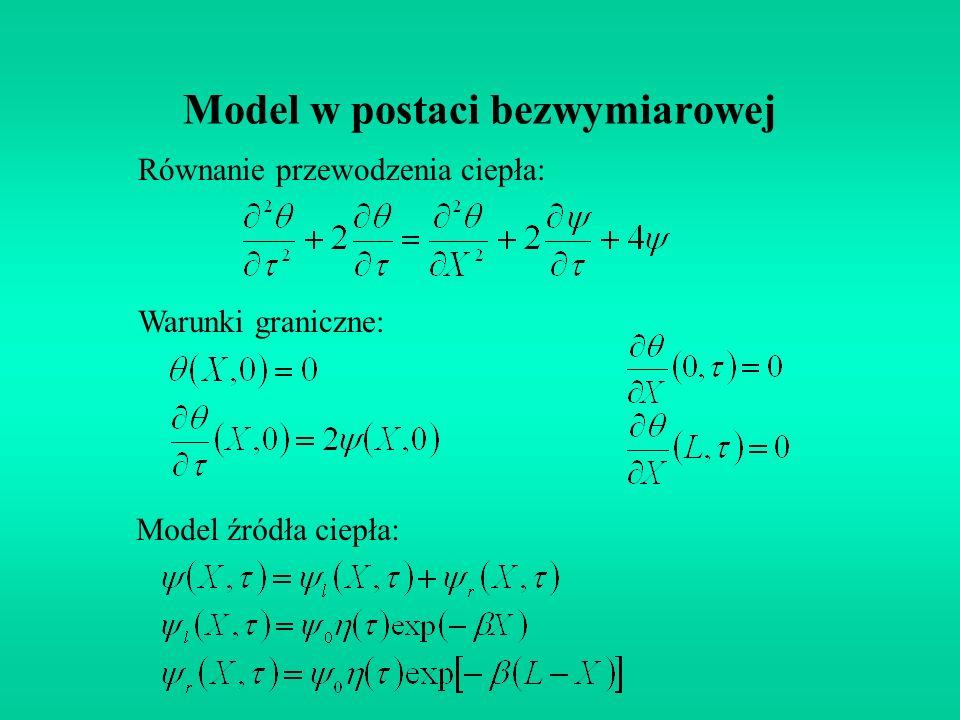 Model w postaci bezwymiarowej Równanie przewodzenia ciepła: Warunki graniczne: Model źródła ciepła: