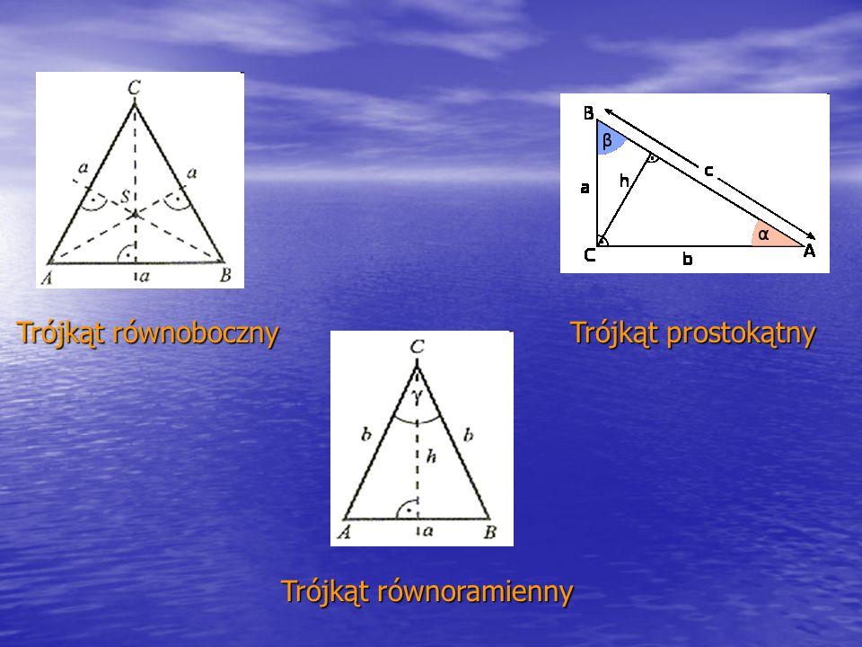 Trójkąt równoboczny Trójkąt równoramienny Trójkąt prostokątny