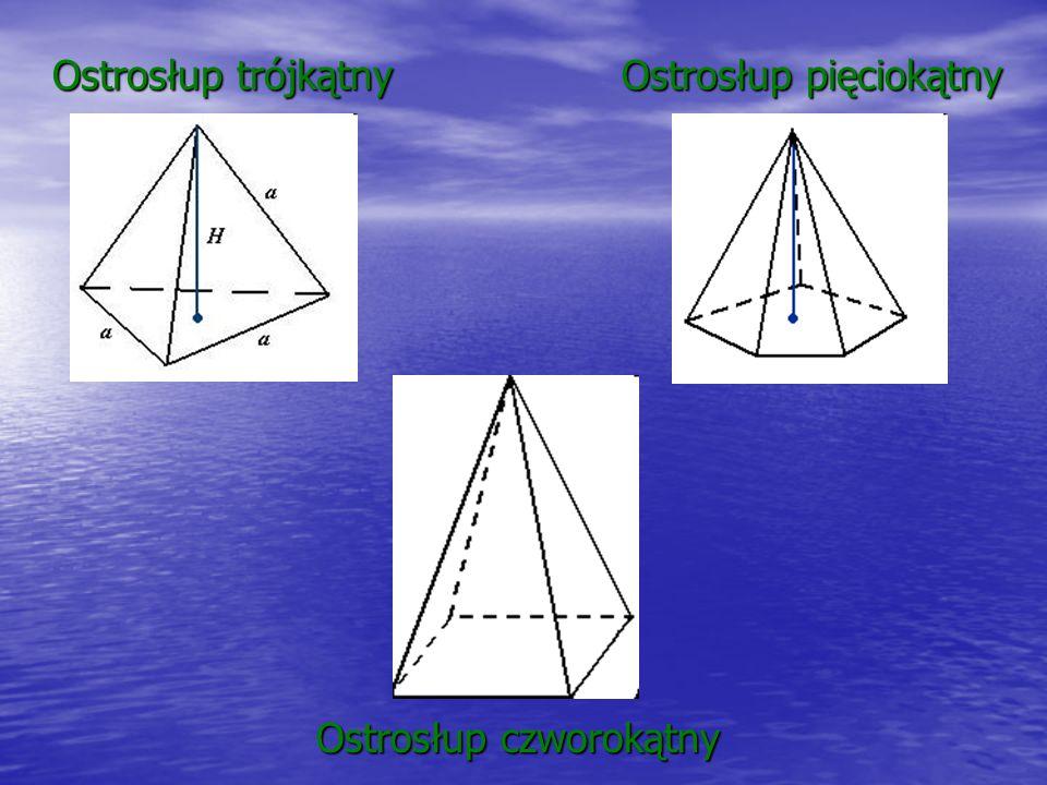 Ostrosłup trójkątny Ostrosłup czworokątny Ostrosłup pięciokątny