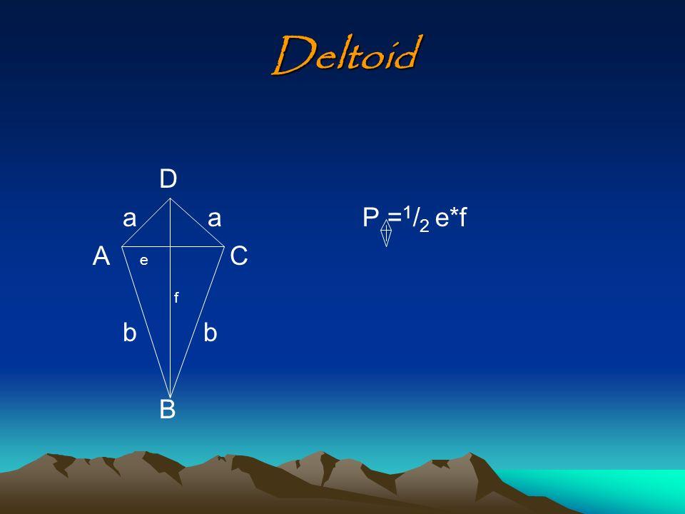 Deltoid D a a A e C f b b B P = 1 / 2 e*f