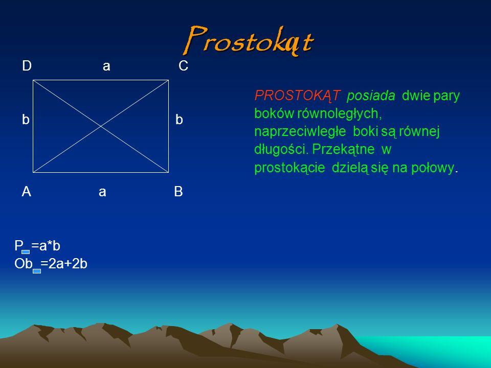 Prostok ą t D a C b b A a B P =a*b Ob =2a+2b PROSTOKĄT posiada dwie pary boków równoległych, naprzeciwległe boki są równej długości. Przekątne w prost