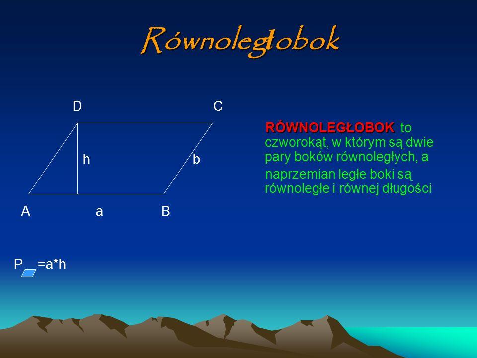 Równoleg ł obok D C h b A a B P =a*h RÓWNOLEGŁOBOK RÓWNOLEGŁOBOK to czworokąt, w którym są dwie pary boków równoległych, a naprzemian ległe boki są ró