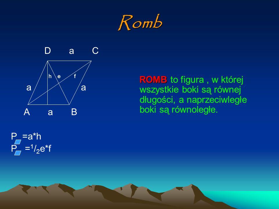 Trapez D c C d h b A a B P = 1 / 2 (a+b)*h TRAPEZEM TRAPEZEM nazywamy figurę, której dwa boki są równoległe