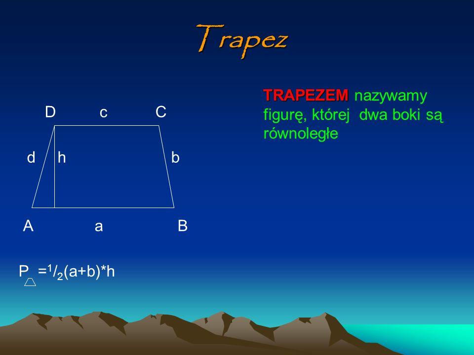 Rodzaje trapezów D C D C A B A B Trapez prostokątny Trapez równoramienny