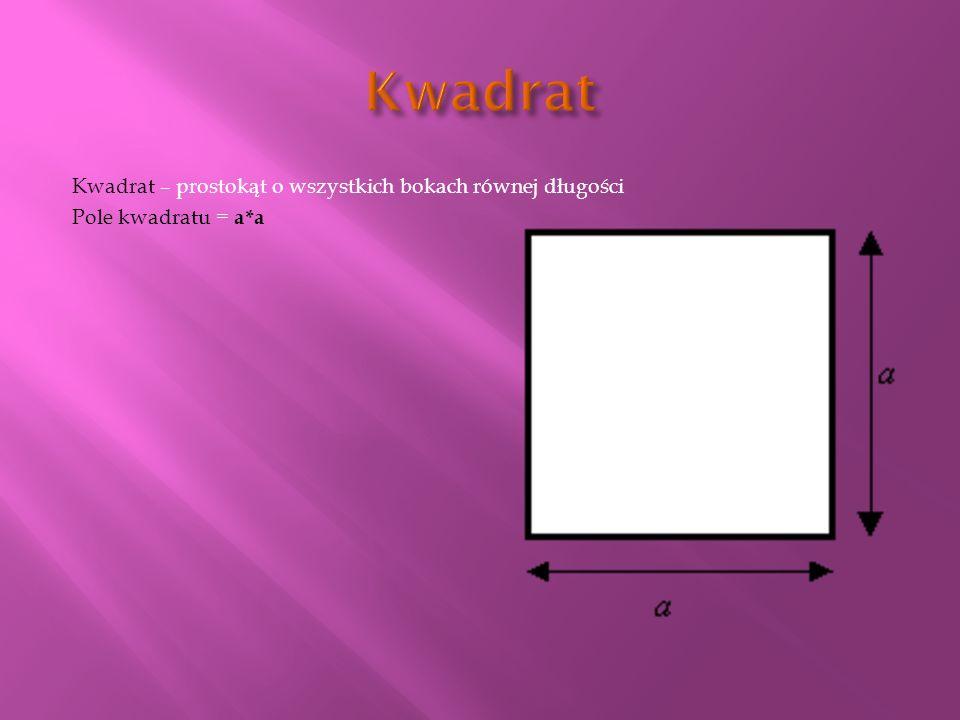 Kwadrat – prostokąt o wszystkich bokach równej długości Pole kwadratu = a*a