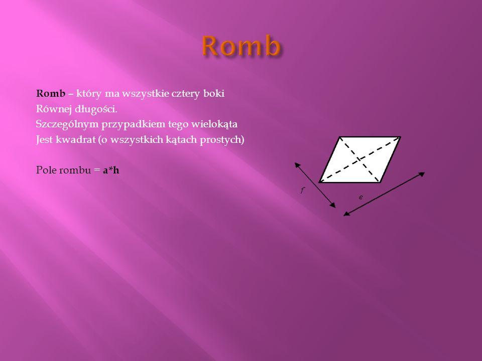 Romb – który ma wszystkie cztery boki Równej długości.