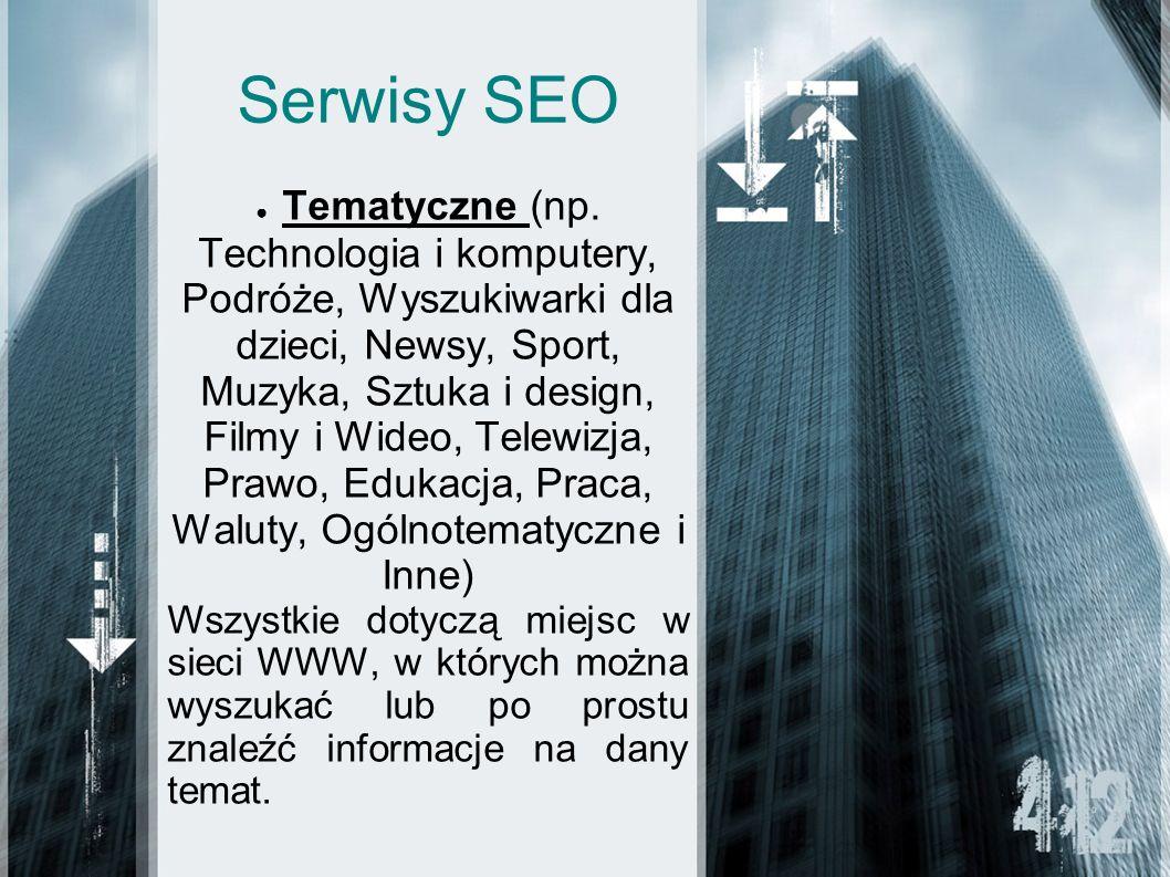 Serwisy SEO Tematyczne (np. Technologia i komputery, Podróże, Wyszukiwarki dla dzieci, Newsy, Sport, Muzyka, Sztuka i design, Filmy i Wideo, Telewizja