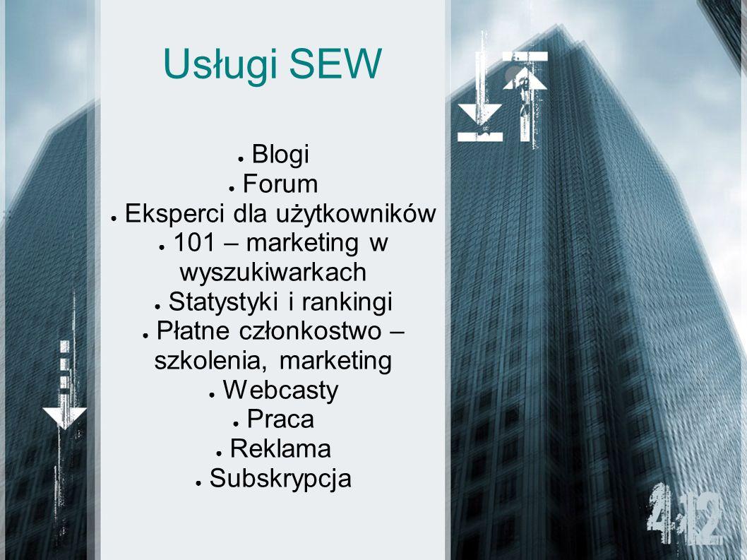 Usługi SEW Blogi Forum Eksperci dla użytkowników 101 – marketing w wyszukiwarkach Statystyki i rankingi Płatne członkostwo – szkolenia, marketing Webcasty Praca Reklama Subskrypcja