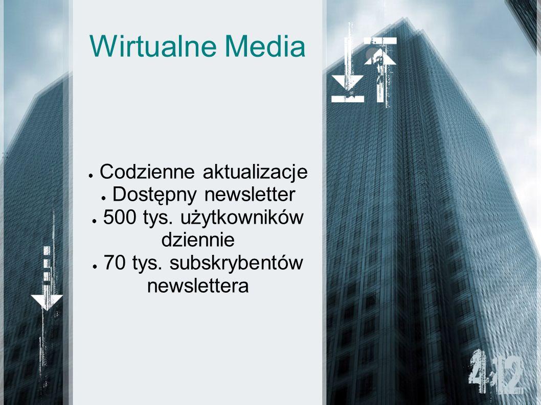 Wirtualne Media Codzienne aktualizacje Dostępny newsletter 500 tys. użytkowników dziennie 70 tys. subskrybentów newslettera