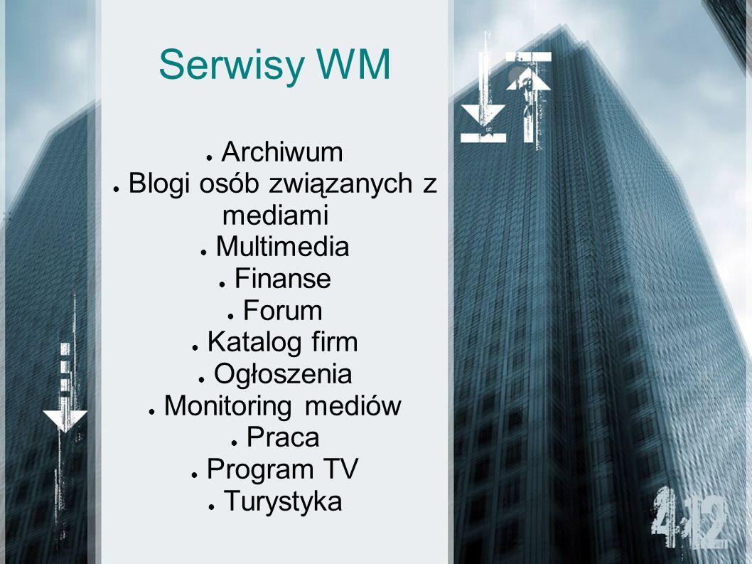 Serwisy WM Archiwum Blogi osób związanych z mediami Multimedia Finanse Forum Katalog firm Ogłoszenia Monitoring mediów Praca Program TV Turystyka