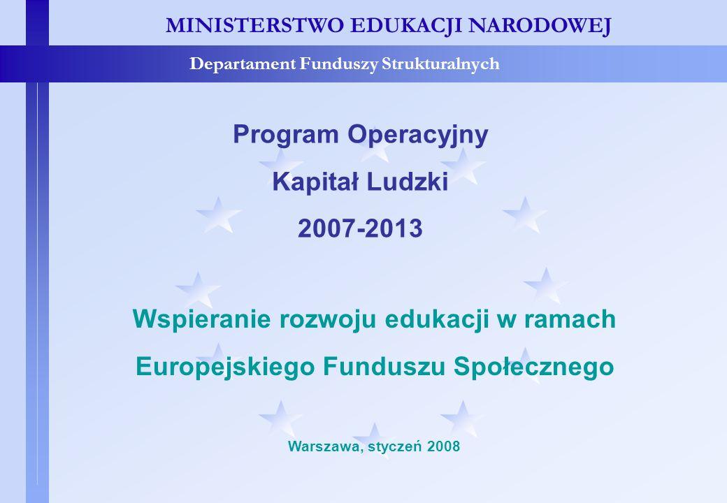 Programowanie MINISTERSTWO EDUKACJI NARODOWEJ Departament Funduszy Strukturalnych Programowanie Odnowiona Strategia Lizbońska Zintegrowany Pakiet Wytycznych na rzecz wzrostu i zatrudnienia Strategiczne Wytyczne Wspólnoty wspierające wzrost i zatrudnienie Strategia Rozwoju Kraju 2007-2015 Krajowy Program Reform 2005-2008 Krajowe strategie sektorowe Narodowe Strategiczne Ramy Odniesienia (NSRO) Programy Operacyjne