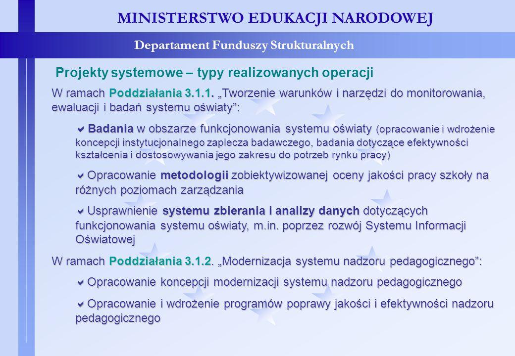 Projekty systemowe – typy realizowanych operacji MINISTERSTWO EDUKACJI NARODOWEJ Departament Funduszy Strukturalnych Projekty systemowe – typy realizo