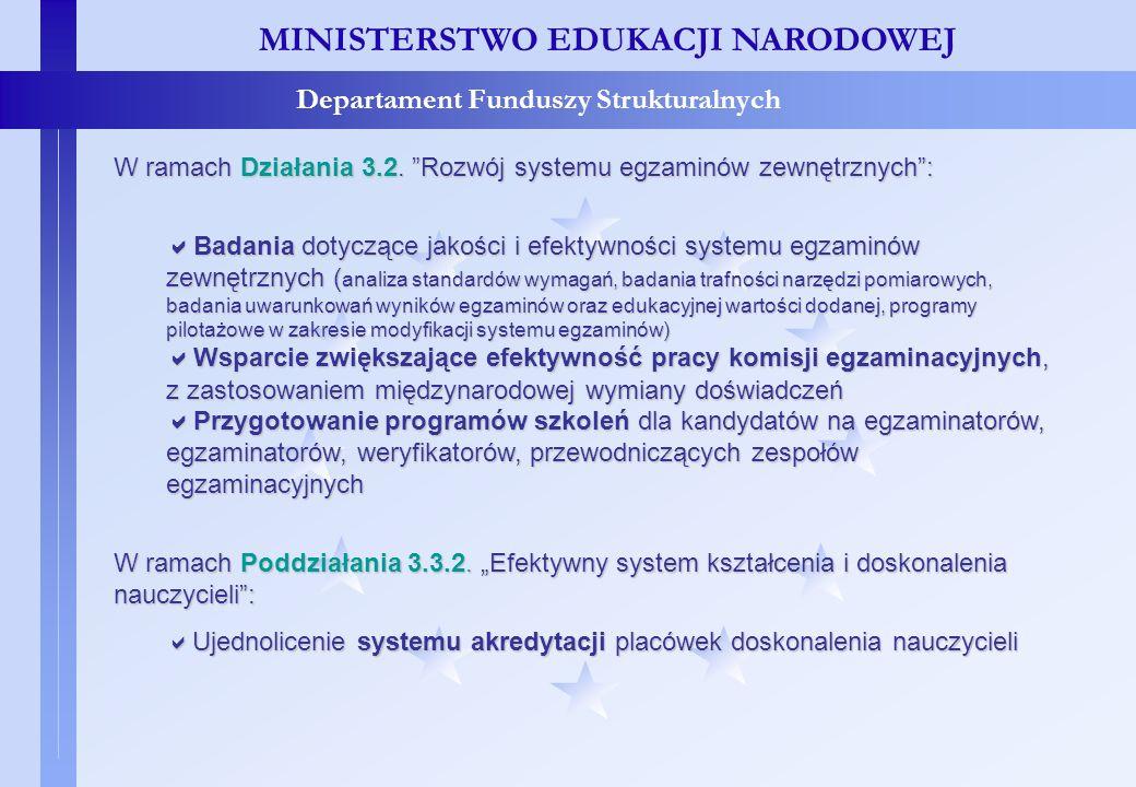 Projekty systemowe – c.d. MINISTERSTWO EDUKACJI NARODOWEJ Departament Funduszy Strukturalnych W ramach Działania 3.2. Rozwój systemu egzaminów zewnętr