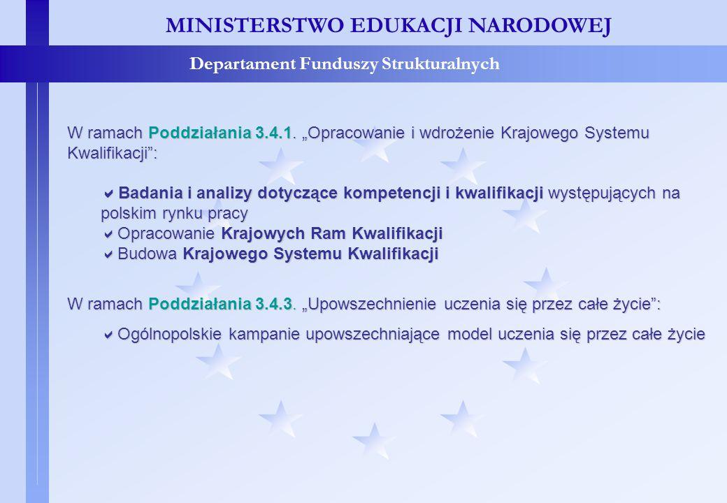 Projekty systemowe – c.d. MINISTERSTWO EDUKACJI NARODOWEJ Departament Funduszy Strukturalnych W ramach Poddziałania 3.4.1. Opracowanie i wdrożenie Kra