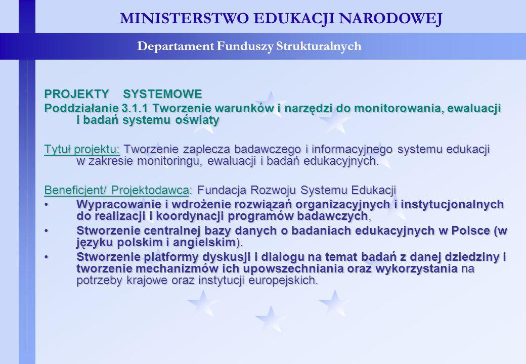 Projekty konkursowe – c.d. MINISTERSTWO EDUKACJI NARODOWEJ Departament Funduszy Strukturalnych PROJEKTY SYSTEMOWE Poddziałanie 3.1.1 Tworzenie warunkó