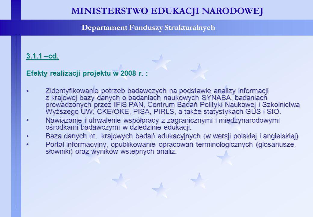 Projekty konkursowe – c.d. MINISTERSTWO EDUKACJI NARODOWEJ Departament Funduszy Strukturalnych 3.1.1 –cd. Efekty realizacji projektu w 2008 r. : Ziden