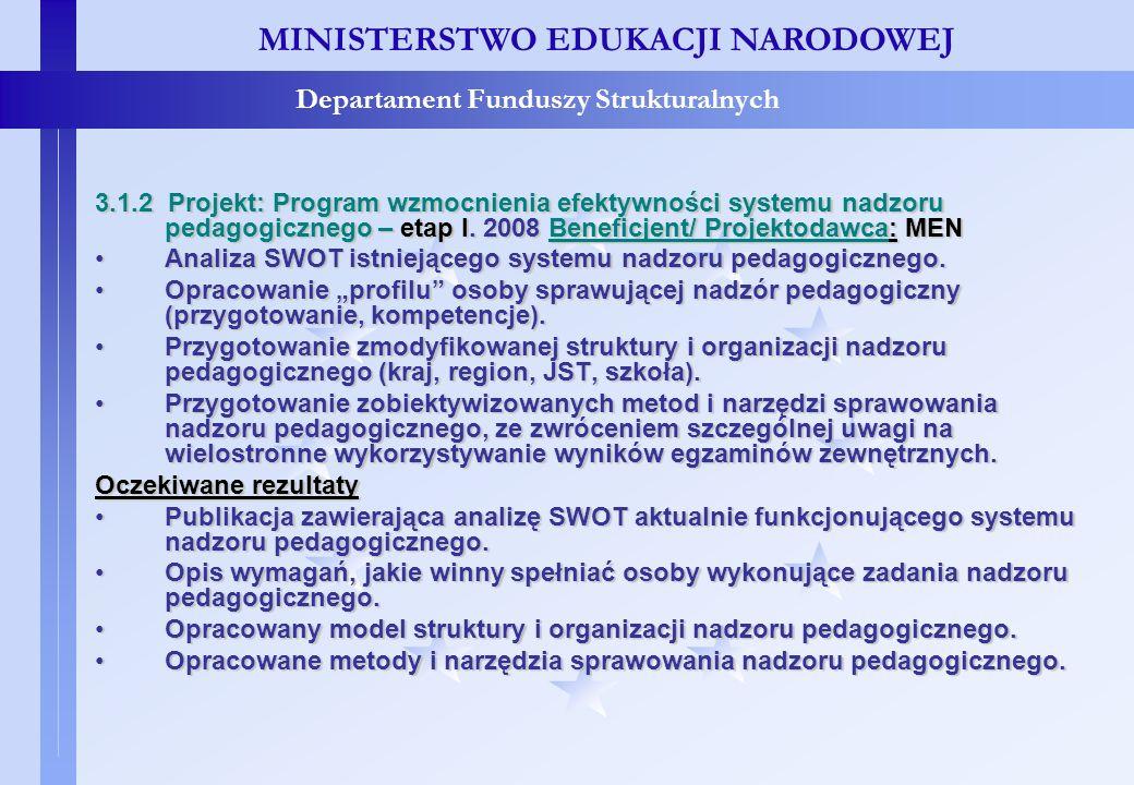 Projekty konkursowe – c.d. MINISTERSTWO EDUKACJI NARODOWEJ Departament Funduszy Strukturalnych 3.1.2 Projekt: Program wzmocnienia efektywności systemu