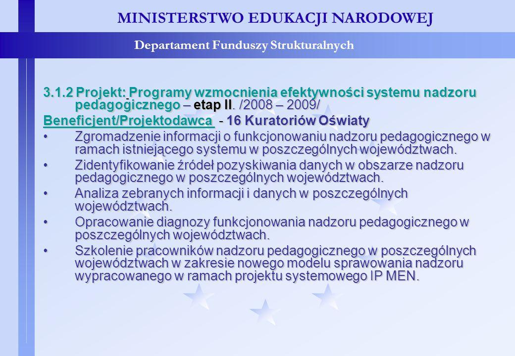 Projekty konkursowe – c.d. MINISTERSTWO EDUKACJI NARODOWEJ Departament Funduszy Strukturalnych 3.1.2 Projekt: Programy wzmocnienia efektywności system