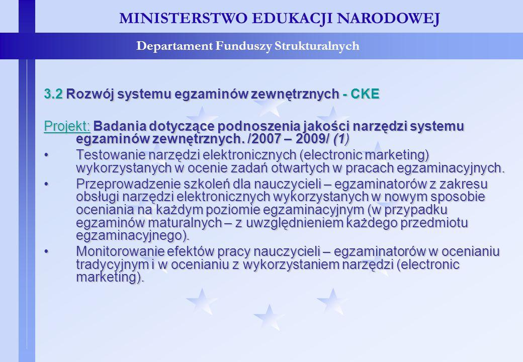 Projekty konkursowe – c.d. MINISTERSTWO EDUKACJI NARODOWEJ Departament Funduszy Strukturalnych 3.2 Rozwój systemu egzaminów zewnętrznych - CKE Projekt