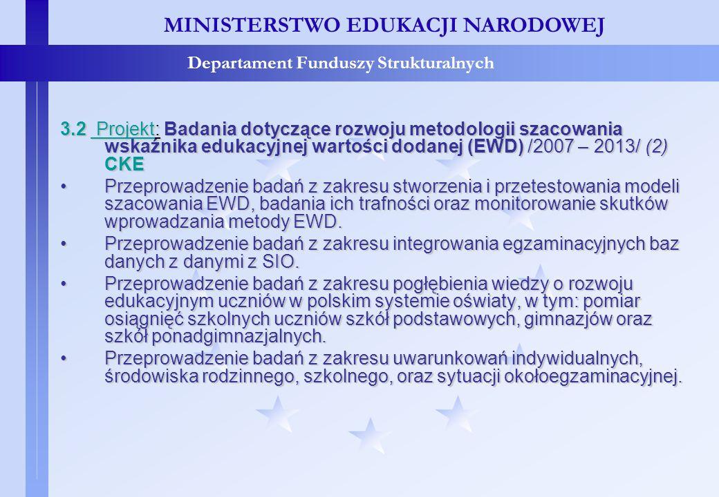 Projekty konkursowe – c.d. MINISTERSTWO EDUKACJI NARODOWEJ Departament Funduszy Strukturalnych 3.2 Projekt: Badania dotyczące rozwoju metodologii szac