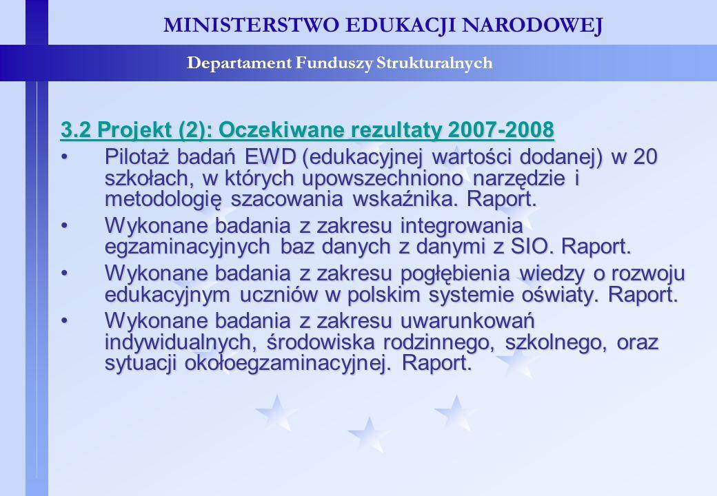 Projekty konkursowe – c.d. MINISTERSTWO EDUKACJI NARODOWEJ Departament Funduszy Strukturalnych 3.2 Projekt (2): Oczekiwane rezultaty 2007-2008 Pilotaż