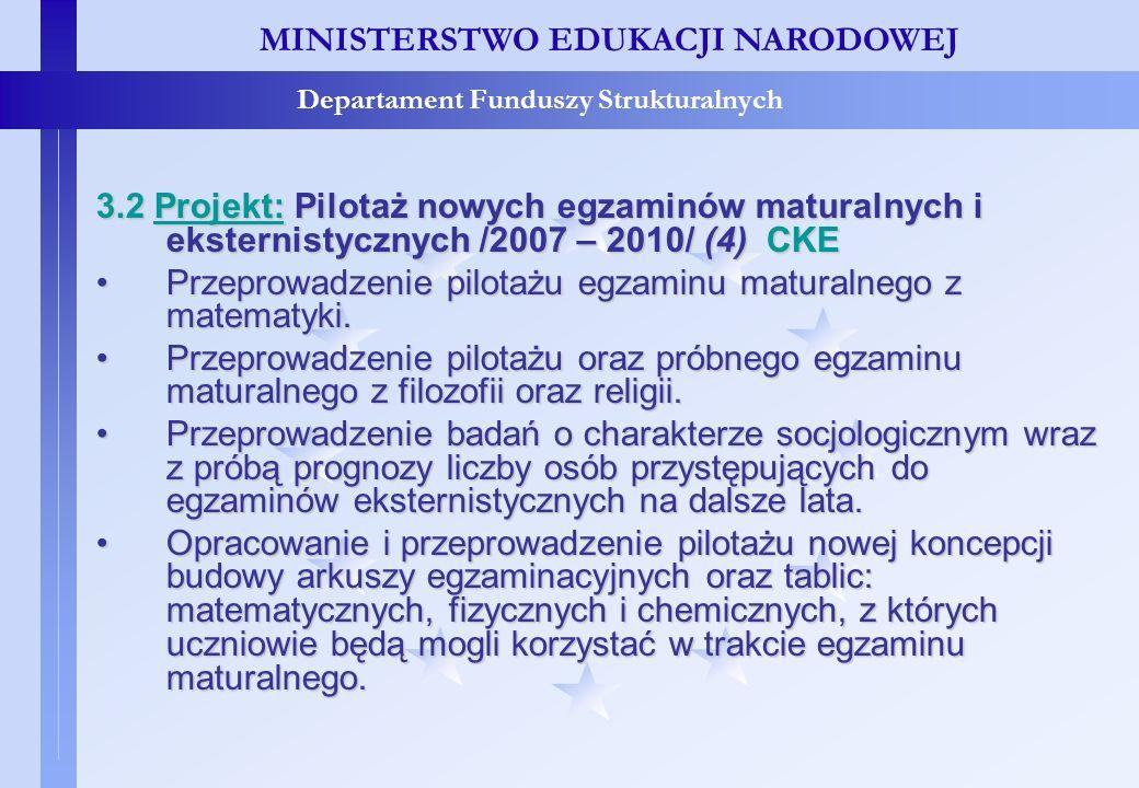 Projekty konkursowe – c.d. MINISTERSTWO EDUKACJI NARODOWEJ Departament Funduszy Strukturalnych 3.2 Projekt: Pilotaż nowych egzaminów maturalnych i eks