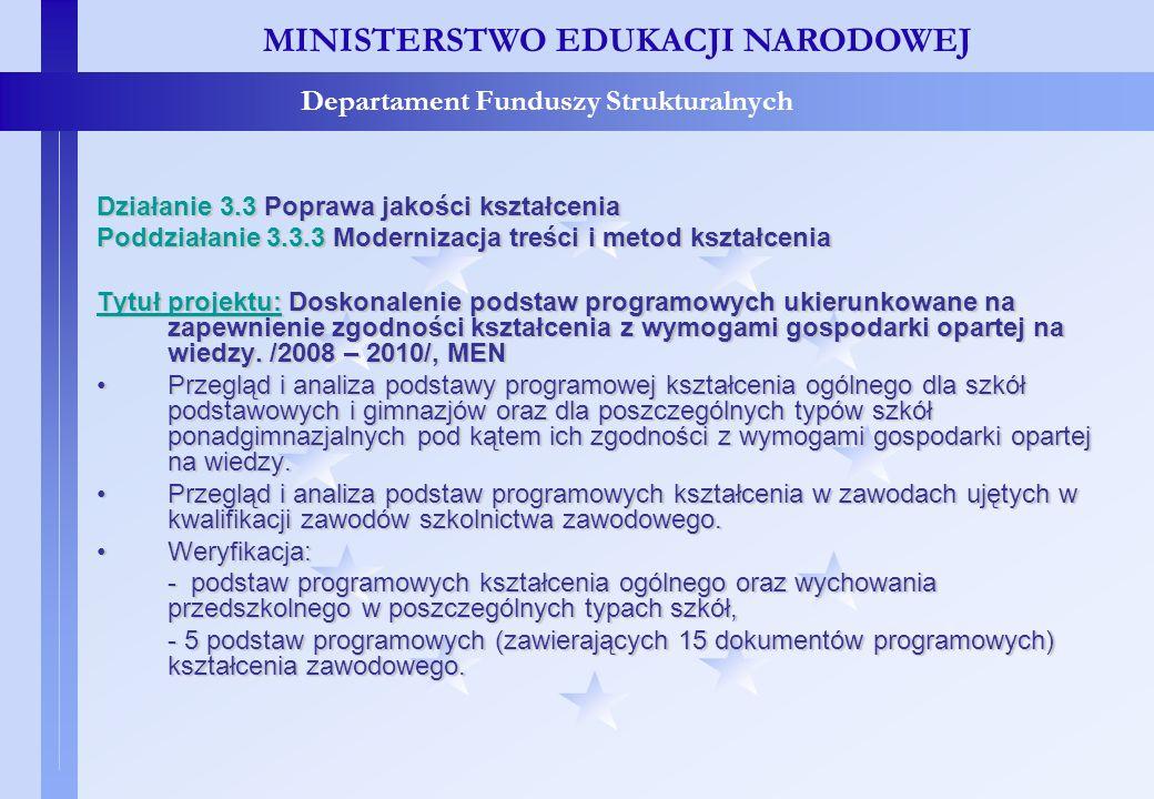 Projekty konkursowe – c.d. MINISTERSTWO EDUKACJI NARODOWEJ Departament Funduszy Strukturalnych Działanie 3.3 Poprawa jakości kształcenia Poddziałanie