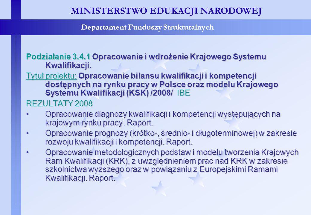 Projekty konkursowe – c.d. MINISTERSTWO EDUKACJI NARODOWEJ Departament Funduszy Strukturalnych Podziałanie 3.4.1 Opracowanie i wdrożenie Krajowego Sys