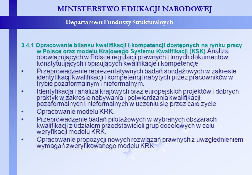 Projekty konkursowe – c.d. MINISTERSTWO EDUKACJI NARODOWEJ Departament Funduszy Strukturalnych 3.4.1 Opracowanie bilansu kwalifikacji i kompetencji do