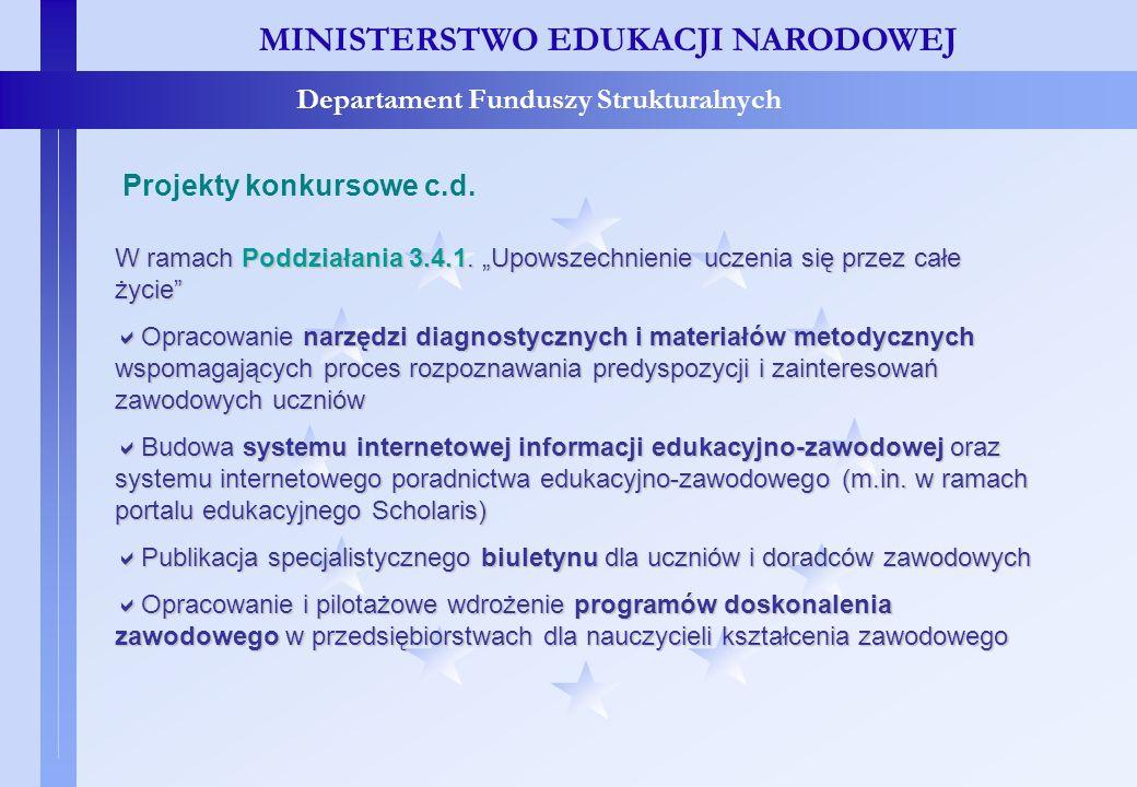 Projekty konkursowe – c.d. MINISTERSTWO EDUKACJI NARODOWEJ Departament Funduszy Strukturalnych Projekty konkursowe c.d. W ramach Poddziałania 3.4.1. U