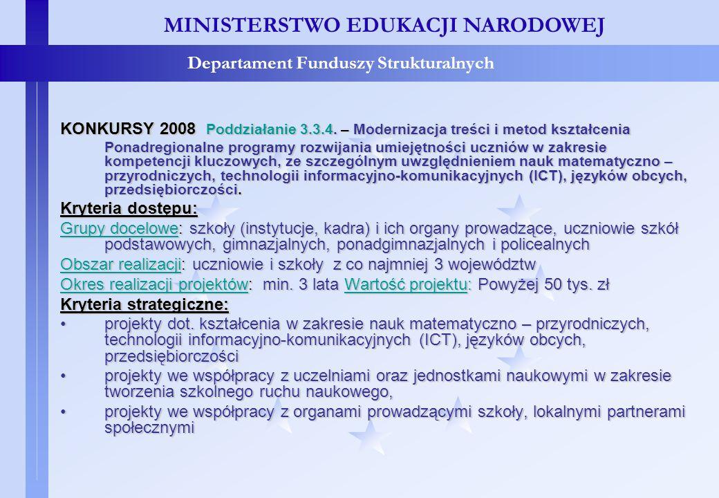 Projekty konkursowe – c.d. MINISTERSTWO EDUKACJI NARODOWEJ Departament Funduszy Strukturalnych KONKURSY 2008 Poddziałanie 3.3.4. – Modernizacja treści