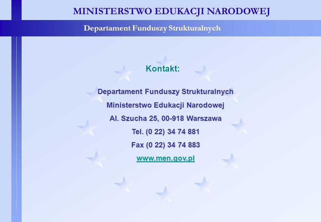 Dane adresowe MEN MINISTERSTWO EDUKACJI NARODOWEJ Departament Funduszy Strukturalnych Kontakt: Departament Funduszy Strukturalnych Ministerstwo Edukac