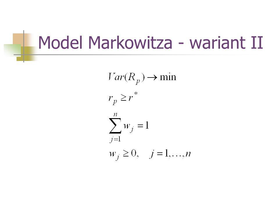 Model Markowitza - wariant II
