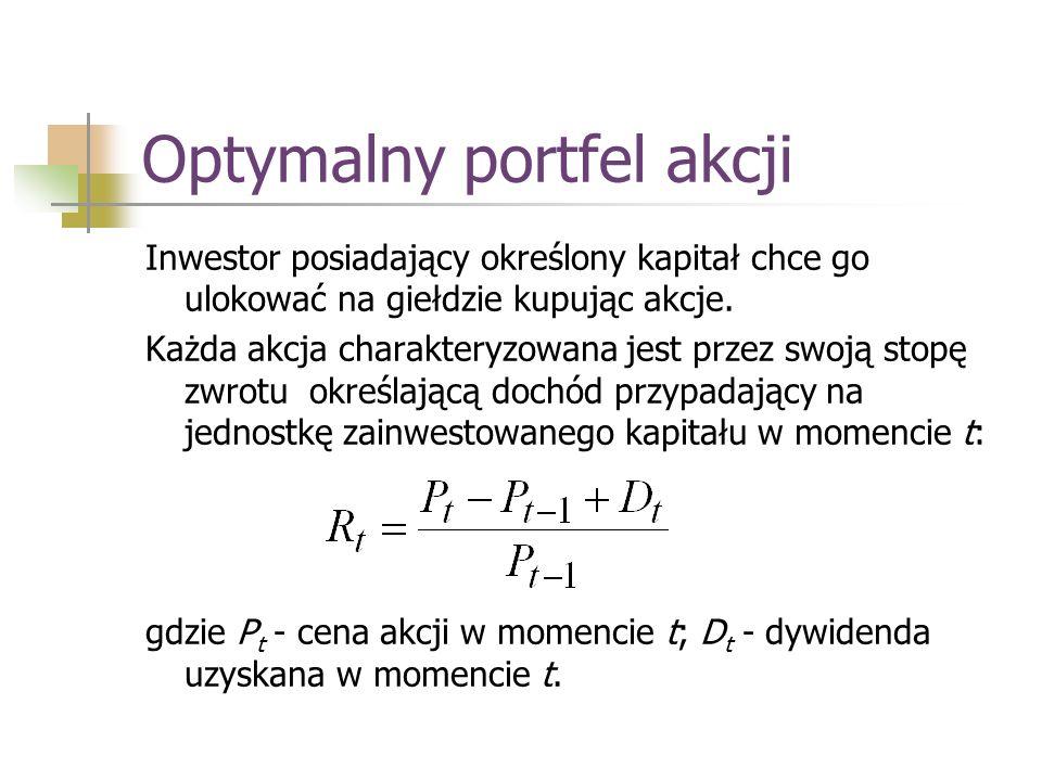 Optymalny portfel akcji Aby opisać niepewność związaną z wysokością stopy zwrotu rozważa się rozkład stopy zwrotu – możliwe do osiągnięcia wartości R t wraz z odpowiadającymi im prawdopodobieństwami.