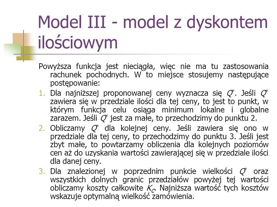 Model III - model z dyskontem ilościowym Powyższa funkcja jest nieciągła, więc nie ma tu zastosowania rachunek pochodnych. W to miejsce stosujemy nast
