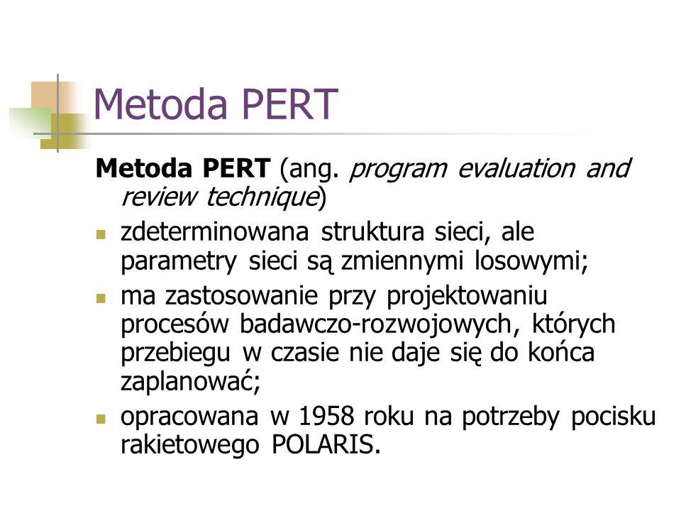 Metoda PERT Metoda PERT (ang. program evaluation and review technique) zdeterminowana struktura sieci, ale parametry sieci są zmiennymi losowymi; ma z