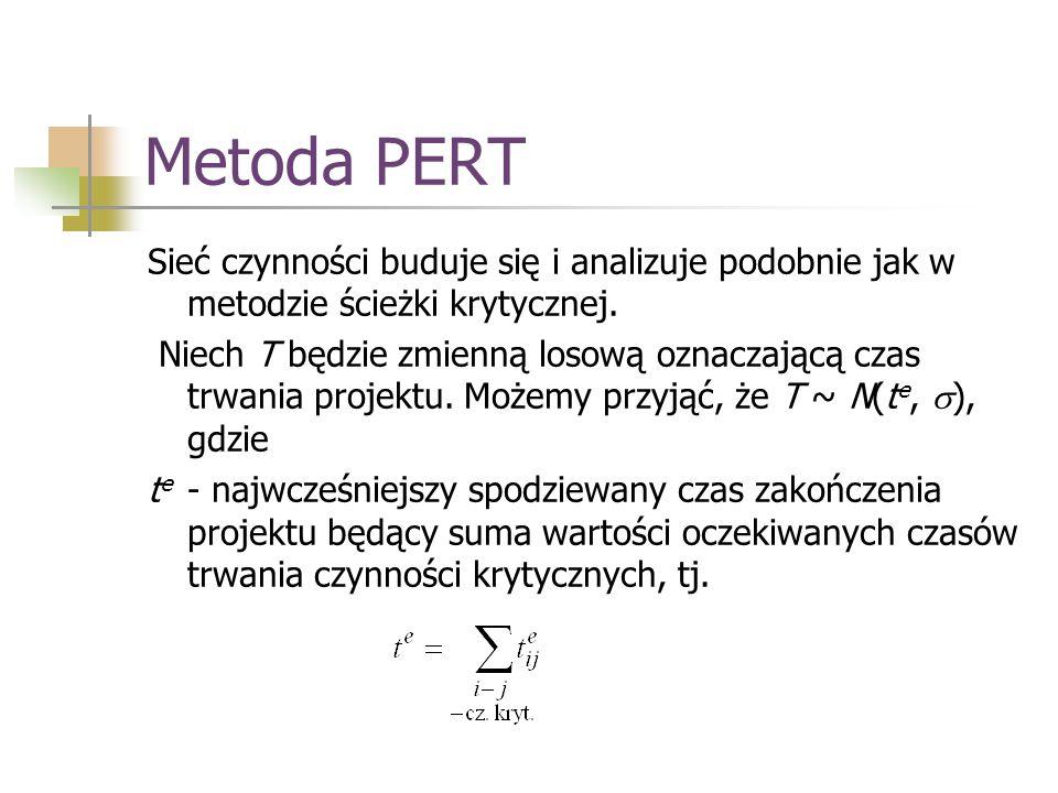 Metoda PERT Sieć czynności buduje się i analizuje podobnie jak w metodzie ścieżki krytycznej. Niech T będzie zmienną losową oznaczającą czas trwania p