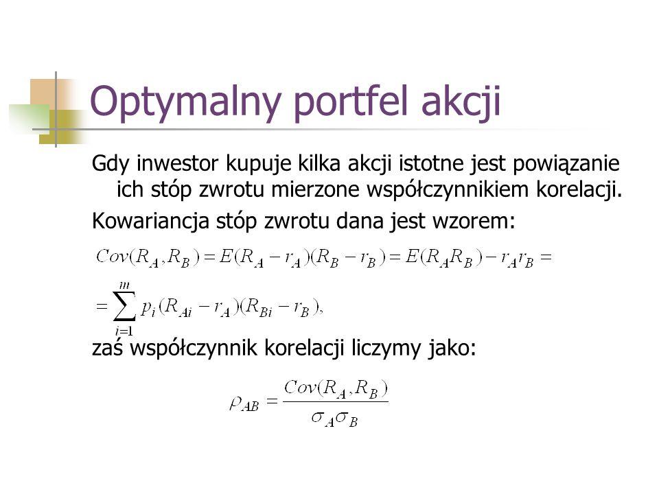Optymalny portfel akcji Gdy inwestor kupuje kilka akcji istotne jest powiązanie ich stóp zwrotu mierzone współczynnikiem korelacji. Kowariancja stóp z