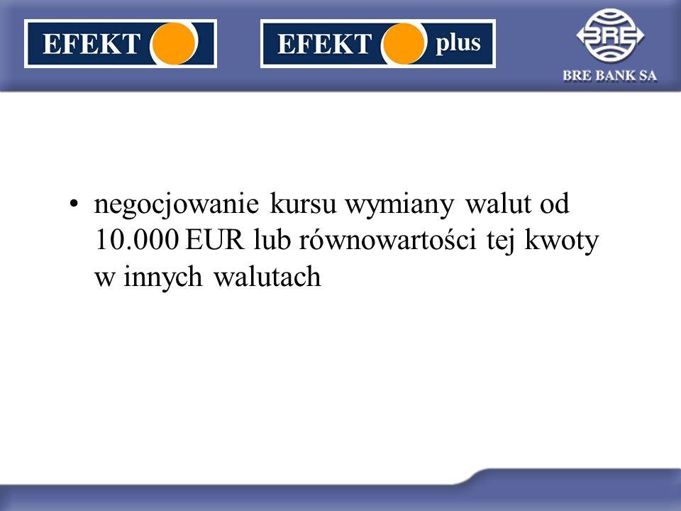 negocjowanie kursu wymiany walut od 10.000 EUR lub równowartości tej kwoty w innych walutach