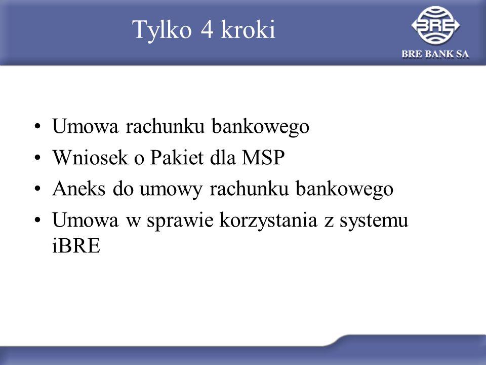 Tylko 4 kroki Umowa rachunku bankowego Wniosek o Pakiet dla MSP Aneks do umowy rachunku bankowego Umowa w sprawie korzystania z systemu iBRE