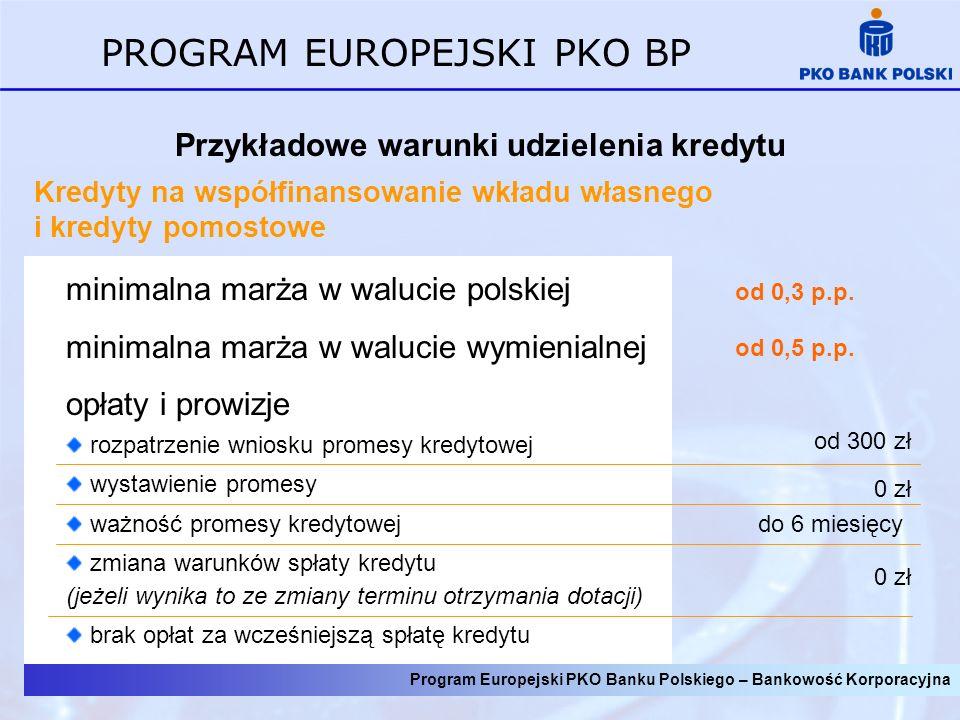 Program Europejski PKO Banku Polskiego – Bankowość Korporacyjna PROGRAM EUROPEJSKI PKO BP Przykładowe warunki udzielenia kredytu Kredyty na współfinan