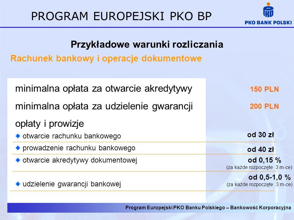 Program Europejski PKO Banku Polskiego – Bankowość Korporacyjna PROGRAM EUROPEJSKI PKO BP Przykładowe warunki rozliczania Rachunek bankowy i operacje