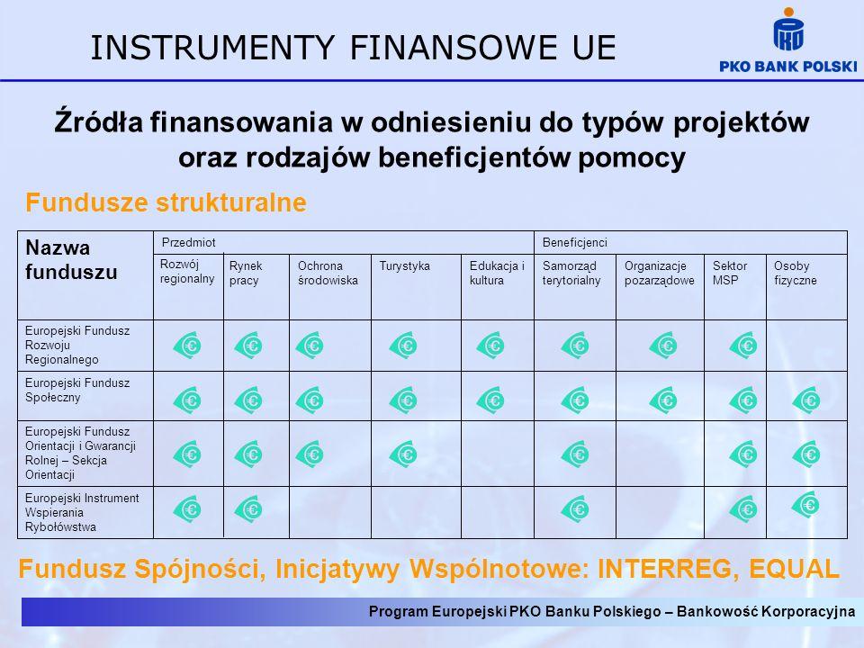 Źródła finansowania w odniesieniu do typów projektów oraz rodzajów beneficjentów pomocy INSTRUMENTY FINANSOWE UE Fundusz Spójności, Inicjatywy Wspólno