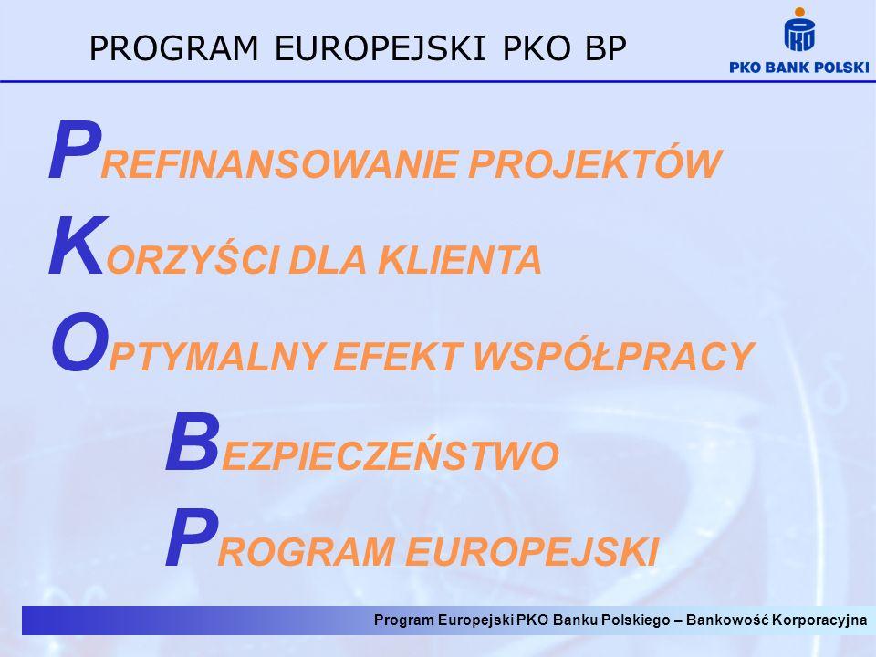 PROGRAM EUROPEJSKI PKO BP P REFINANSOWANIE PROJEKTÓW K ORZYŚCI DLA KLIENTA O PTYMALNY EFEKT WSPÓŁPRACY B EZPIECZEŃSTWO P ROGRAM EUROPEJSKI Program Eur