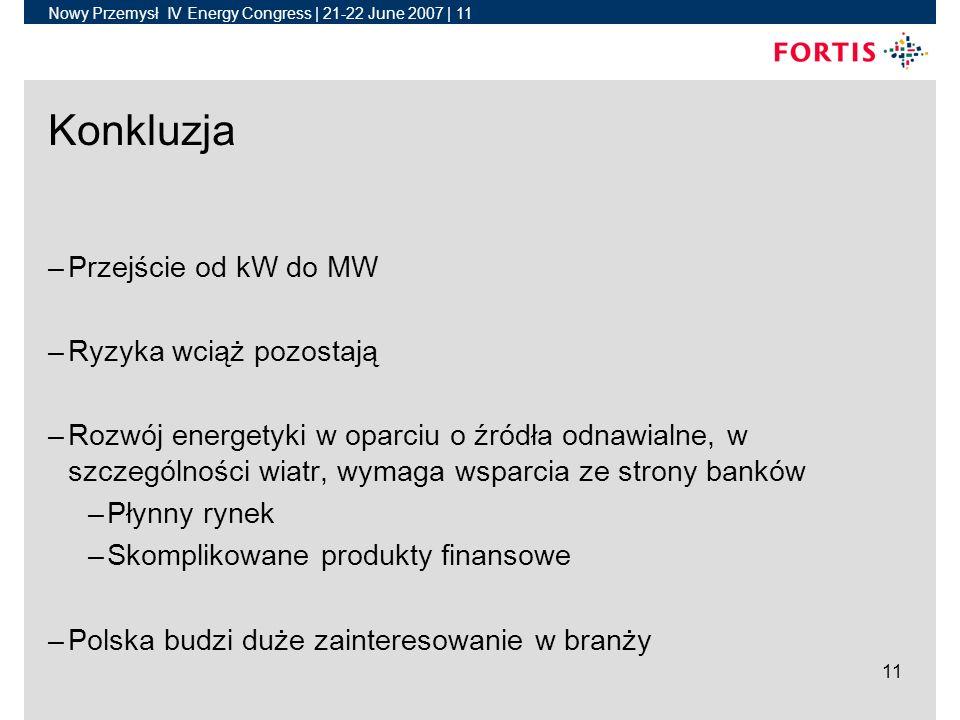 Nowy Przemysł IV Energy Congress | 21-22 June 2007 | 11 11 Konkluzja –Przejście od kW do MW –Ryzyka wciąż pozostają –Rozwój energetyki w oparciu o źródła odnawialne, w szczególności wiatr, wymaga wsparcia ze strony banków –Płynny rynek –Skomplikowane produkty finansowe –Polska budzi duże zainteresowanie w branży