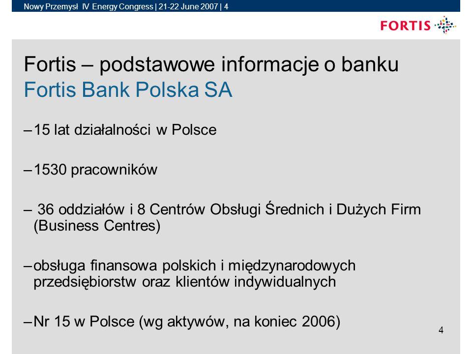 Nowy Przemysł IV Energy Congress | 21-22 June 2007 | 4 4 Fortis – podstawowe informacje o banku Fortis Bank Polska SA –15 lat działalności w Polsce –1530 pracowników – 36 oddziałów i 8 Centrów Obsługi Średnich i Dużych Firm (Business Centres) –obsługa finansowa polskich i międzynarodowych przedsiębiorstw oraz klientów indywidualnych –Nr 15 w Polsce (wg aktywów, na koniec 2006)