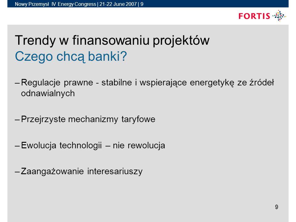 Nowy Przemysł IV Energy Congress | 21-22 June 2007 | 10 10 Trendy w finansowaniu projektów Polska –Silne wsparcie mechanizmów regulacyjnych – System kwoty obowiązskowej (4.3% do 9.0%) – Obowiązkowy zakup od finalnych dostawców (Supplier of last resort) –Relatywnie nowy mechanizm –Dostępność PPAs –Inne