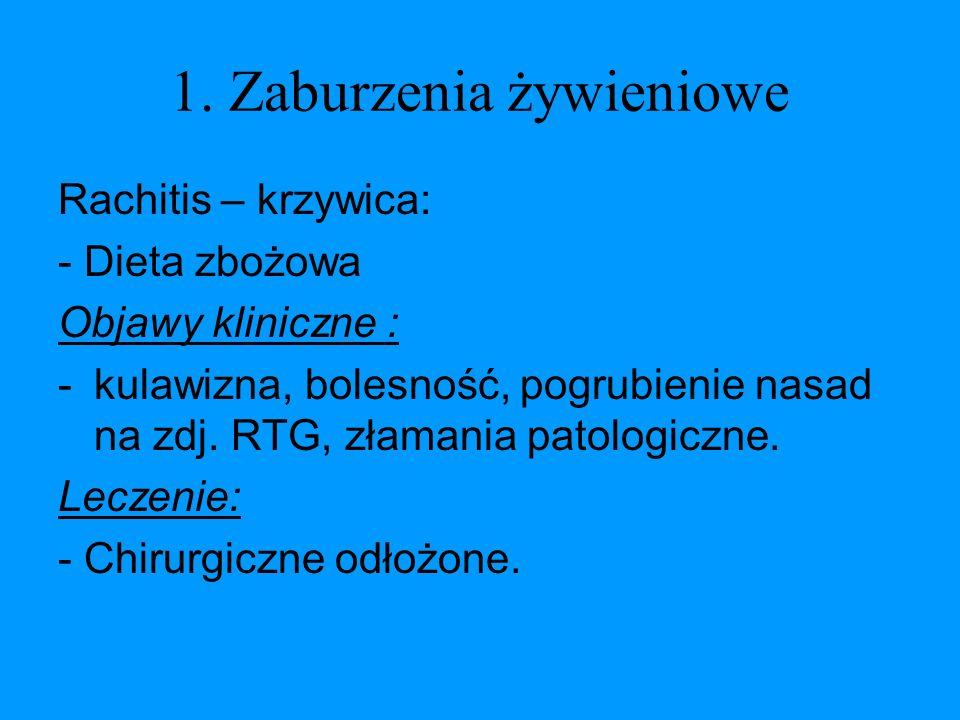 1. Zaburzenia żywieniowe Rachitis – krzywica: - Dieta zbożowa Objawy kliniczne : -kulawizna, bolesność, pogrubienie nasad na zdj. RTG, złamania patolo