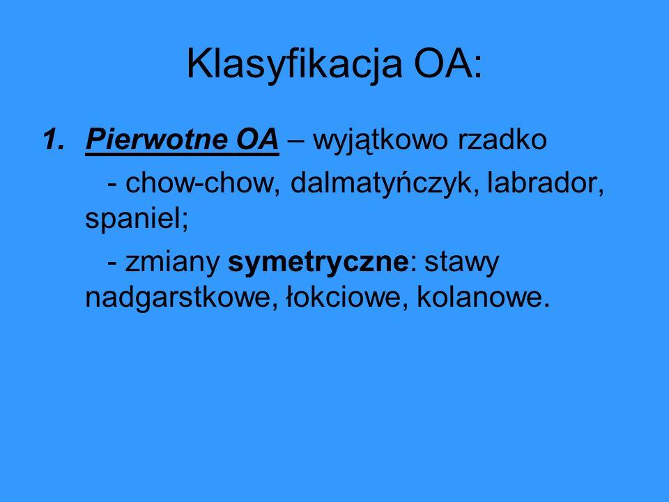 Klasyfikacja OA: 1.Pierwotne OA – wyjątkowo rzadko - chow-chow, dalmatyńczyk, labrador, spaniel; - zmiany symetryczne: stawy nadgarstkowe, łokciowe, k