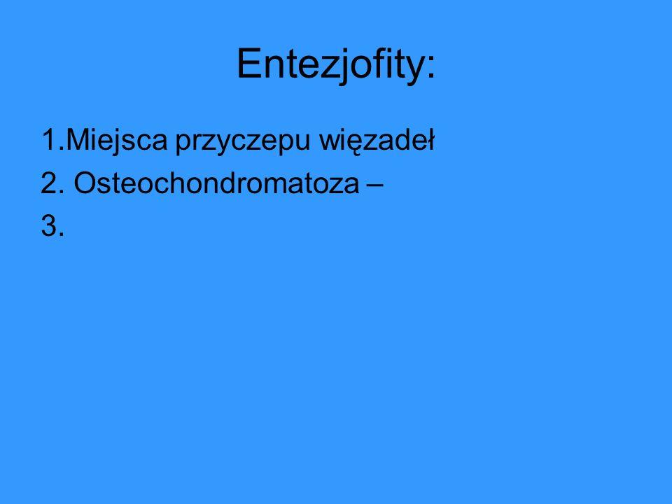 Entezjofity: 1.Miejsca przyczepu więzadeł 2. Osteochondromatoza – 3.